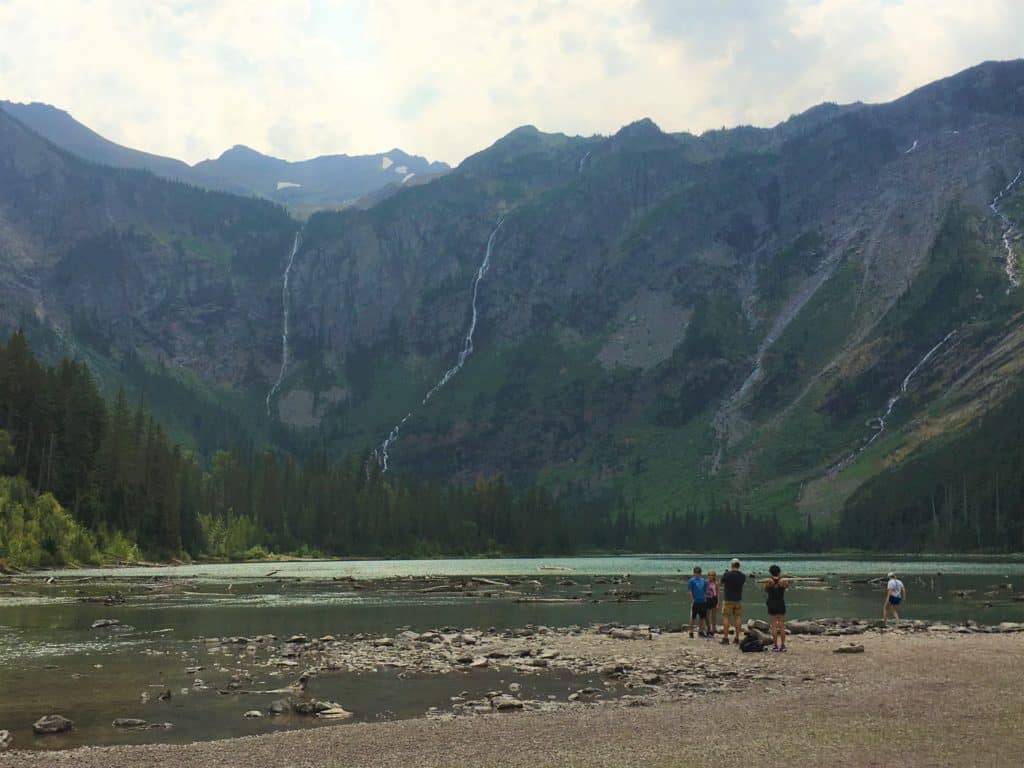 Avalanche Lake Waterfalls in Glacier National Park, one of the Best Hikes in Glacier #walkingtheparks #besthikesglaciernationalpark