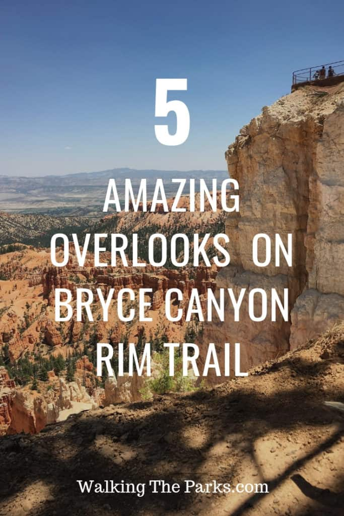 Here's the ultimate guide to hiking the Bryce Canyon Rim Trail with it's 5 gorgeous overlooks! #WalkingTheParks #BryceCanyonRimTrail