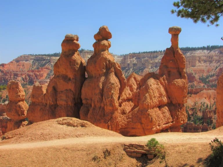 Tall Hoodoos along trail in Bryce Canyon Queens Garden