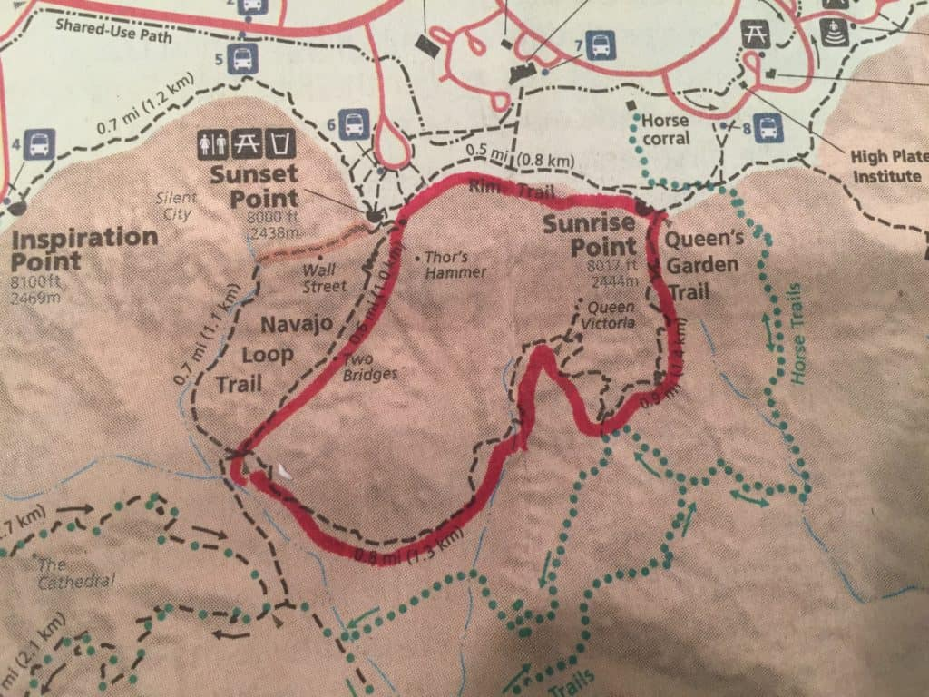 Map with red circle showing the route for the Queens Garden and Navajo Loop Trail