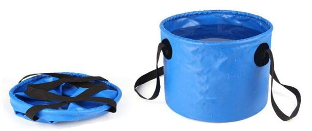 Blue Collapsible Bucket, open and flat