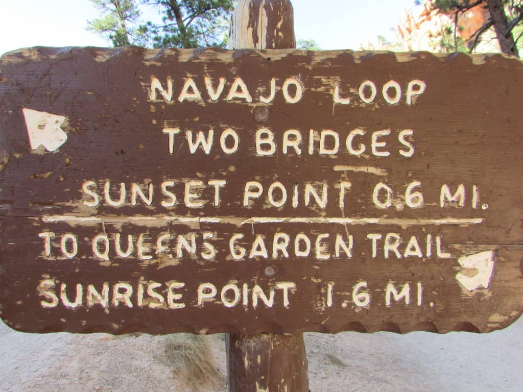 Brown Sign pointing to Two Bridges in the Navajo Loop