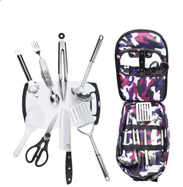 Cooking Utensils in pretty zippered bag for camping