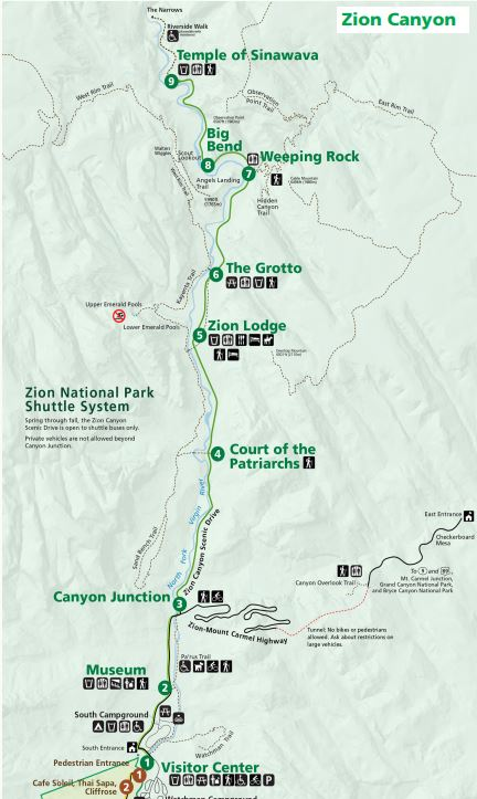 Zion Canyon Shuttle map from NPS Newspaper - Walking The Parks on