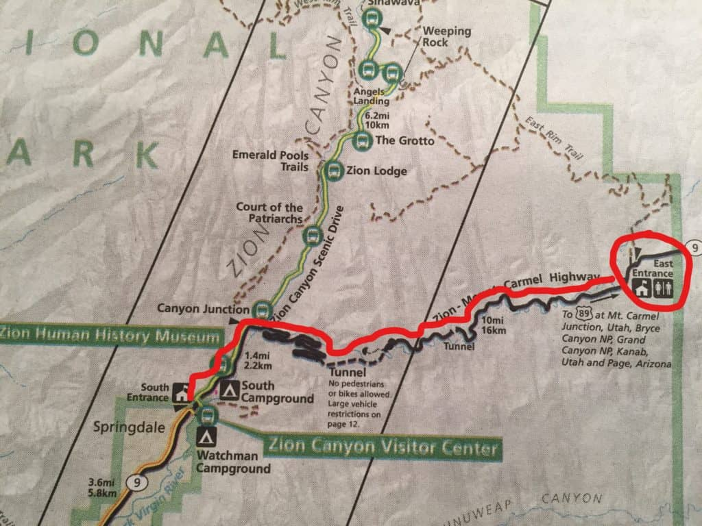 Map of route 9 with red line tracing Zion Mt. Carmel Highway through Zion National Park