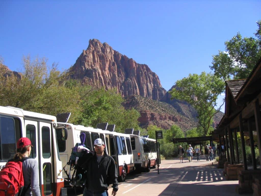 Zion Canyon Shuttle buses loading Zion Park Visitors