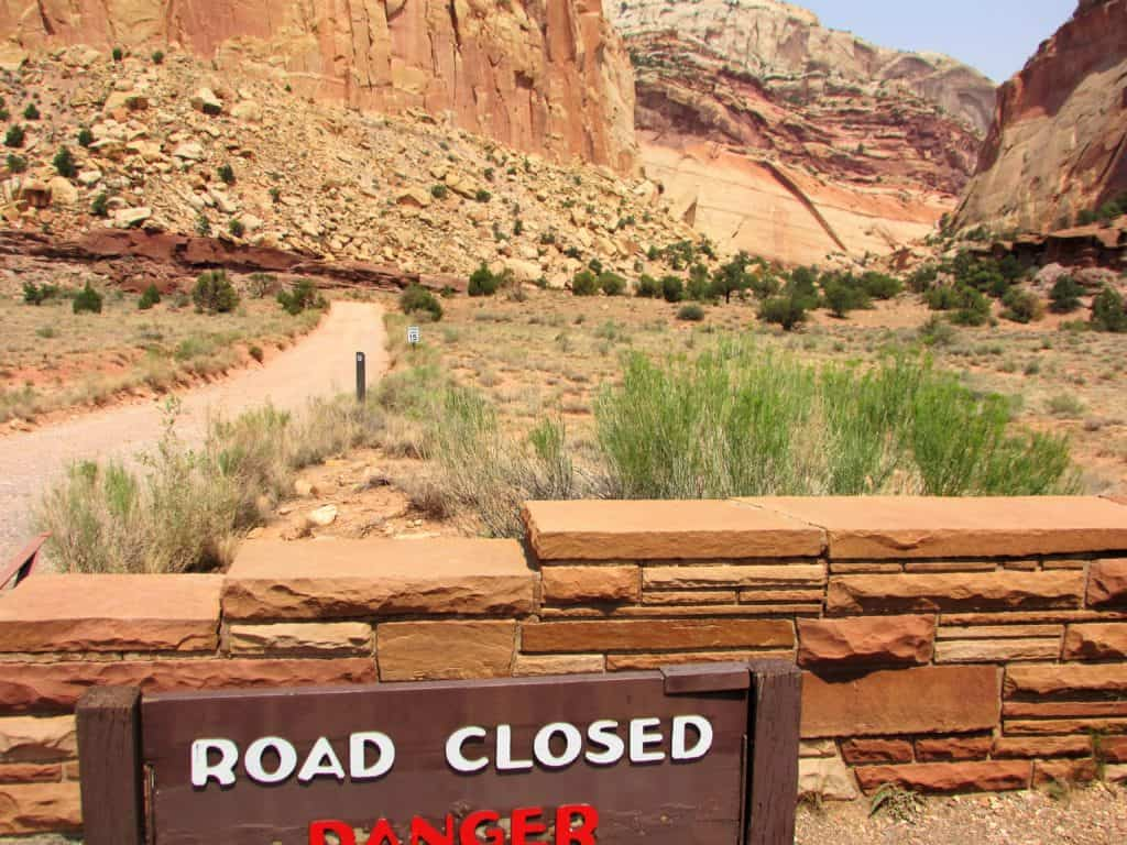 Capitol Gorge Road Closed in Capitol Reef National Park