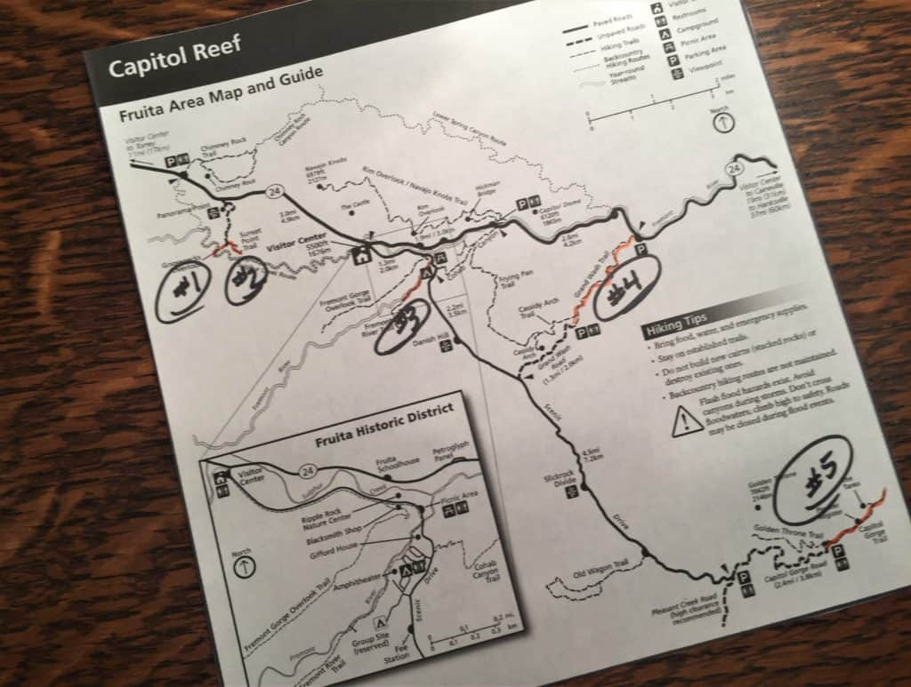 Map of Capitol Reef National Park Day Hikes