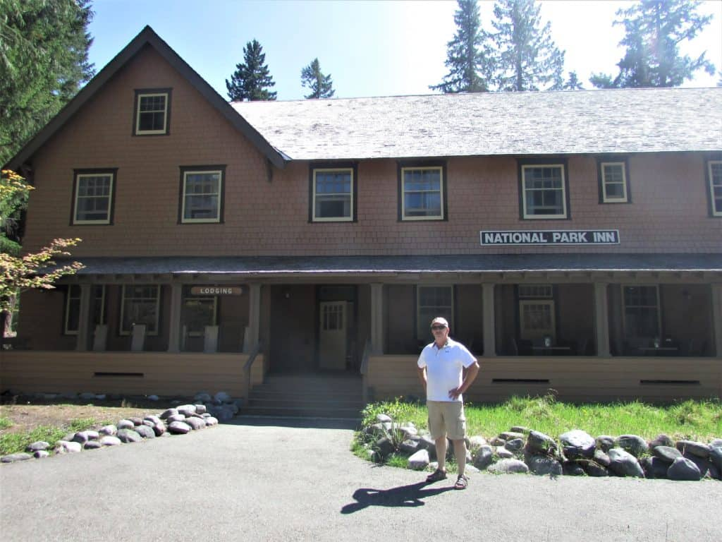 Front porch of National park Inn - one of the things to do Longmire Mt Rainier