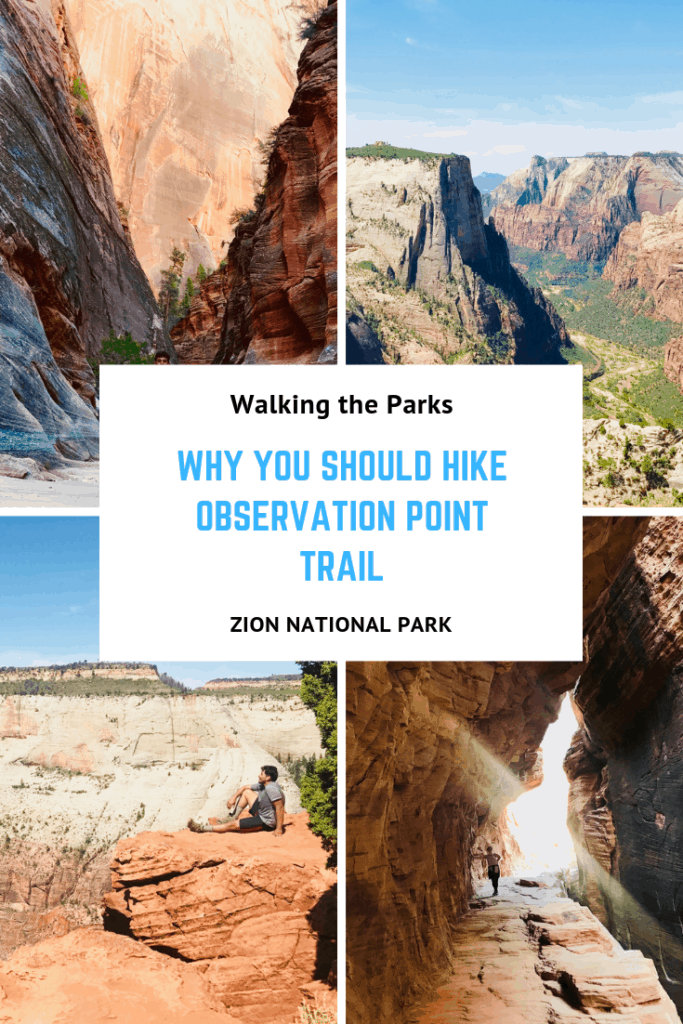 Don't miss this great hike in Zion National Park. Observation Point Trail is Amazing! And a great place to get away from the crowds in Zion. Add this to your Zion Itinerary. #WalkingTheParks #ZionHikes