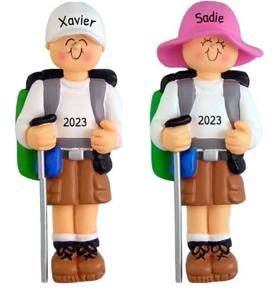 Personalized Hiking Ornament with boy and girl