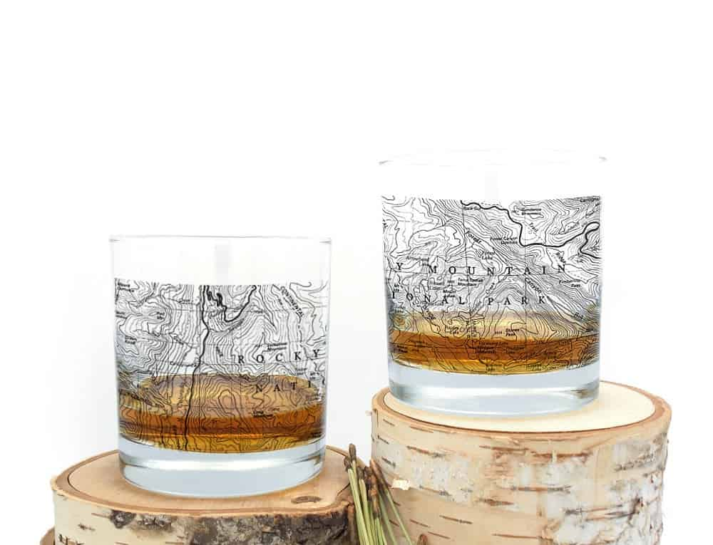 rocky mountain national park glasses with etched map
