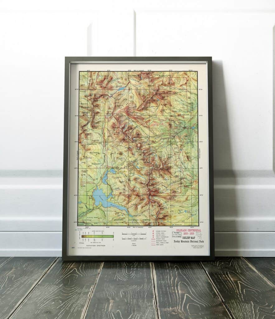 rocky mountain national park wall map