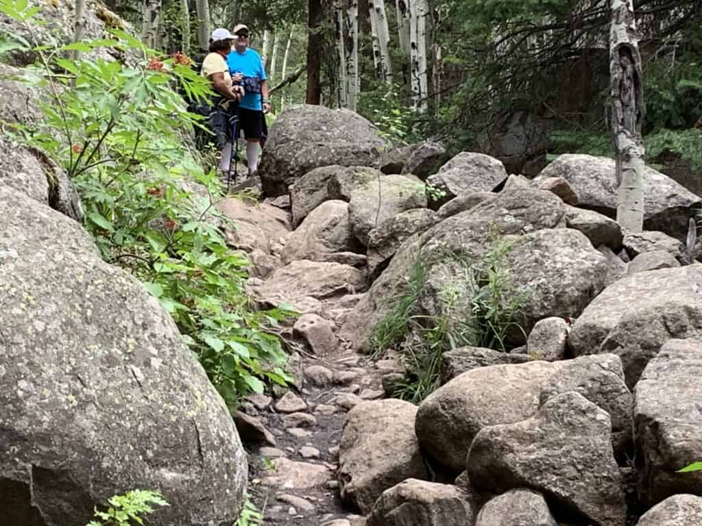 boulders on trail to cub lake rocky mountain national park