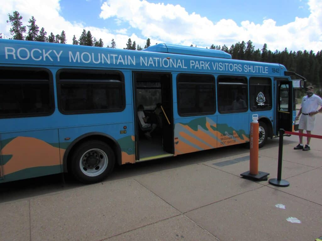 Shuttle Bus waiting to load in RMNP