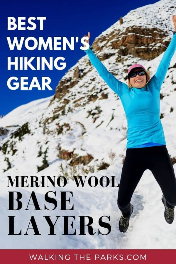 Merino Wool Base Layers are the ultimate way to keep warm and cozy when hiking and skiing in the winter. Check out this guide to the best base layers for women. #WalkingTheParks