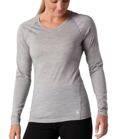 Woman in gray smartwool base layer