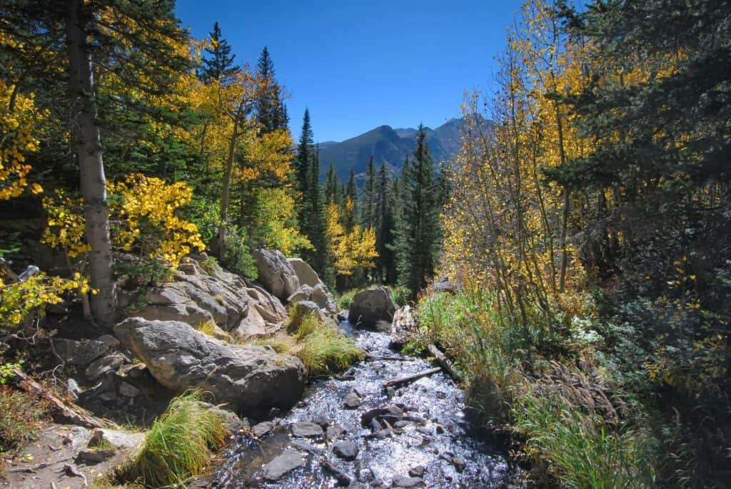 fall in rocky mountain national park with stream running through the mountains