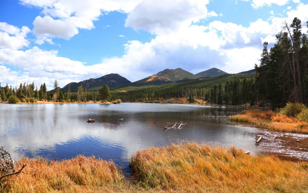 Sprague Lake with bright Rocky MOuntain National Park fall colors